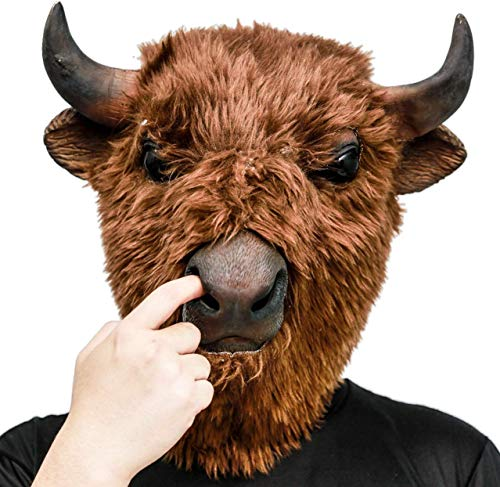 AQKILO Plush Bison Mask,Halloween Carnival Masquerade Party and Carnival Parade Animal Costumes,Latex Full Head Mask Brown
