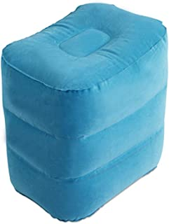 QHLPQH Inflatable Travel Foot Rest Pillow Portable Adjustable 3 Layers Height Foot Stool for Airplanes Light Blue