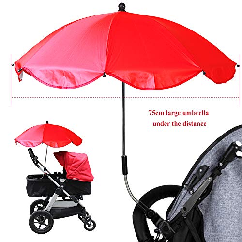 IVYSHION Ombrellino Parasole per Passeggino Universale protezione Anti UV Pieghevole Ombrello per Passeggino/carrozzina Bambino diametro 75 cm