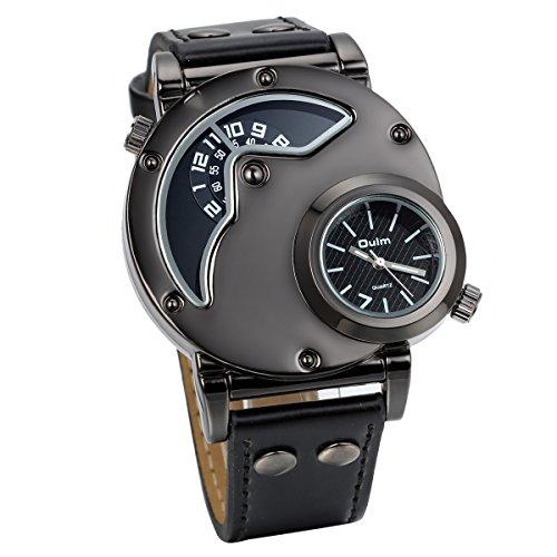 JewelryWe Herren Armbanduhr, Leder Legierung, Elegant Casual Analog Quarz Sportuhr Armband Uhr mit Zwei Anzeigetafeln, Schwarz Zifferblatt