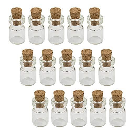 Mini Botellas De Tarros De Cristal con Tapones De Corcho, Botellas del Deseo Botellas De Bricolaje Claro Miniatura De Cristal del Corcho Tapones Los Tarros De Cristal Mini Tiny Botellas De Vidrio De