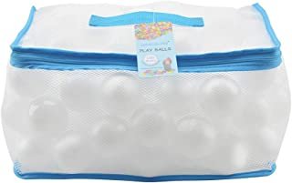 Lightaling 100pcs White Ocean Balls & Pit Balls Soft Plastic Phthalate & BPA Free Crush Proof - Reusable and Durable Storage Mesh Bag with Zipper