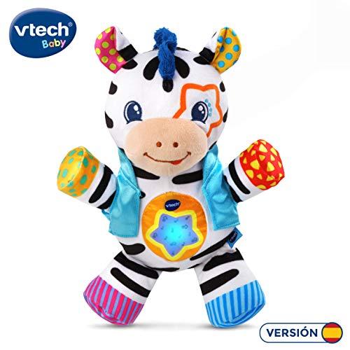 VTech - La Cebra cantarina, Peluche bebé Cuna Que estimula los sentidos del bebé a través de Diferentes Texturas, enseña Colores, Sentimientos, primeras Palabras y fomenta la motricidad Fina