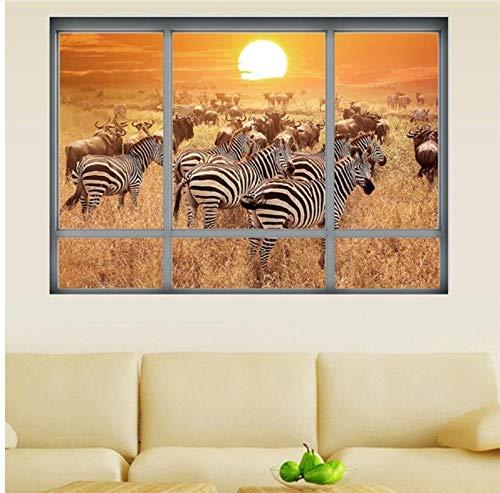 Meaosy Africa Forest Window Scenery 3D muursticker Zebra paard Vinyl muurschildering kunst voor kinderen kamer woonkamer bank achtergrond decoratie