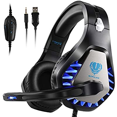 PS4 Headset with Noise Cancelling Mic,Xbox One Headset LED Light Over Ear Gaming Headphone for PC Xbox One S Nintendo Switch Mac Laptop Computer, Stereo Sound 3.5 mm Wired Gaming Headset