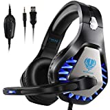 Gaming Headset with Mic,Noise Canceling LED Light Over-Ear Headphone for PS4,Lapto,PC,Xbox One,Nintendo Switch (Black)