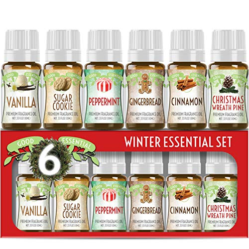 Winter Essential Oil Set of 6 Fragrance Oils - Christmas Wreath Pine, Vanilla, Peppermint, Cinnamon, Sugar Cookie, and Gingerbread by Good Essential Oils - 10ml Bottles