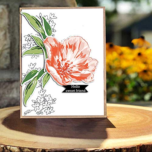 LZBRDY 5.9 by 8.1 Inch Flower Leaves Embossing Thank You Letters Stamp and Die Set for Scrapbooking Card Making Birthday Valentine's Day Stamps and Dies