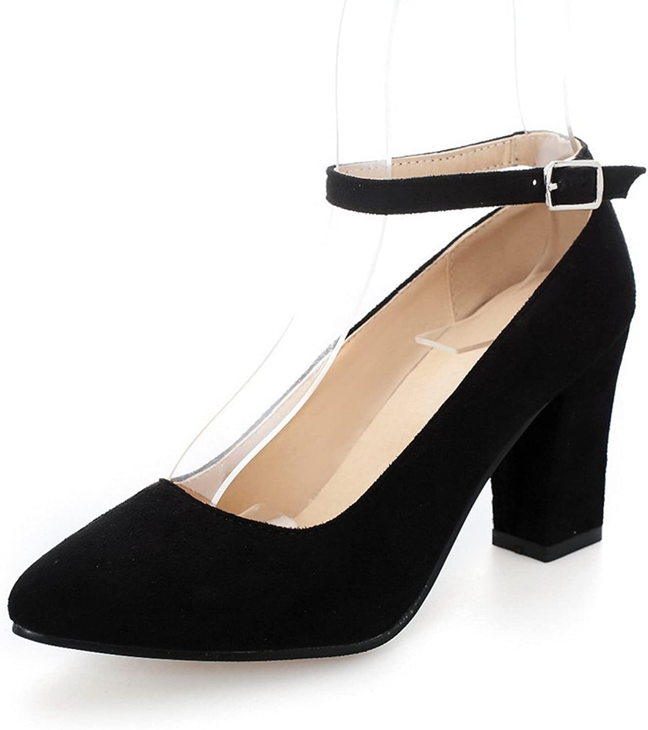 A&N Womens Metal Buckles Chunky Heels Low-Cut Uppers Urethane Pumps shoes