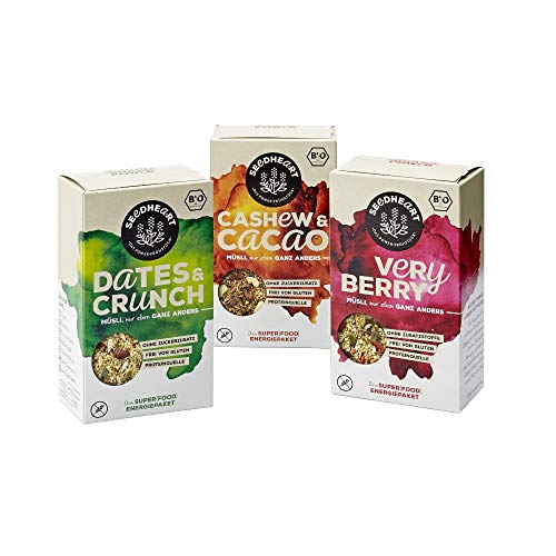 MÜSLI DREIER-MIX - Bio, vegan, glutenfrei - Superfood-Mix aus Saaten, Kernen und Beeren - 3 Packungen (3 x 275g) 1x DATES & CRUNCH, 1x VERY BERRY, 1x CASHEW & CACAO