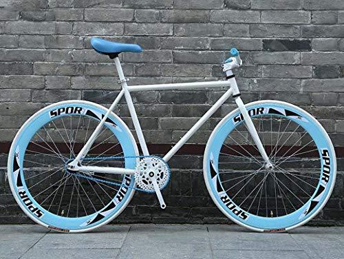 ZTYD Vélo de Route, 26 Pouces Vélos, dénudés Fixie Système de freinage, Armature en Acier Haute teneur en Carbone, Route de vélos de Course, et Les Femmes Adultes Hommes,E