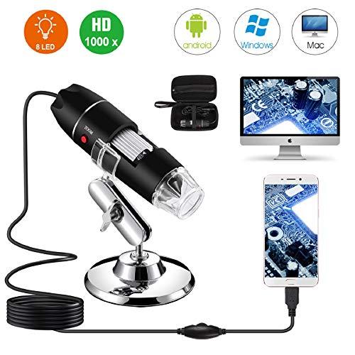 Microscopio digitale USB da 40X a 1000X, telecamera per endoscopio con ingrandimento Bysameyee 8 LED con custodia e supporto in metallo, compatibile con Android Windows 7 8 10 Linux Mac
