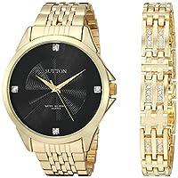Sutton by Armitron メンズ スワロフスキークリスタルアクセント ゴールドトーン腕時計とブレスレットセット SU/5020BKGPST