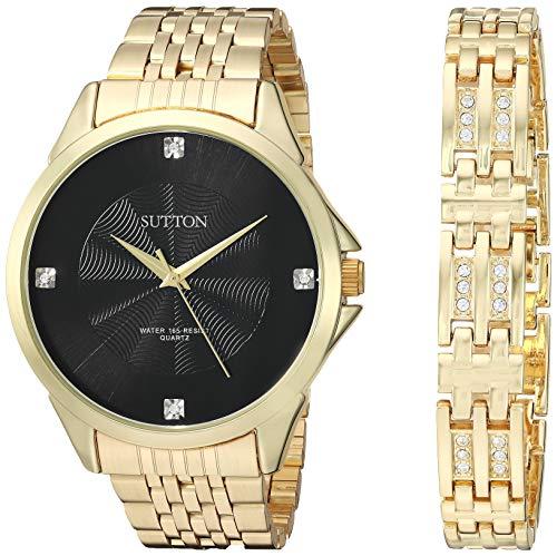 Sutton by Armitron SU/5020BKGPST - Juego de Reloj y Pulsera para Hombre con Cristales de Swarovski, Color Dorado