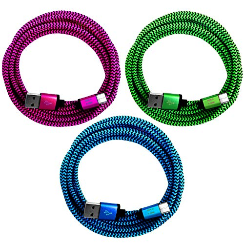 i! - 3 x 50 cm premium nylon USB-C charging data cable set for mobile phone tablet smartphone - blue + green + pink