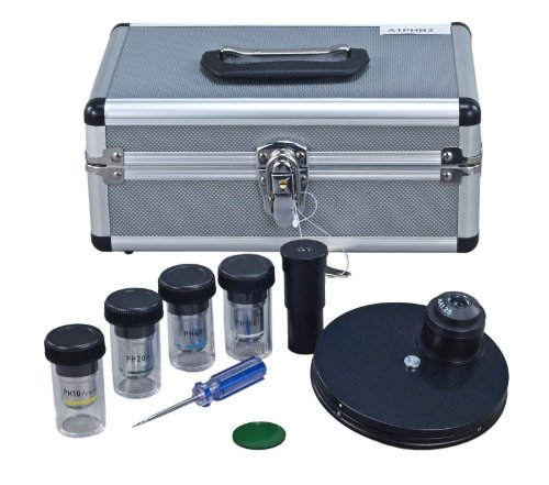 OMAX Phase Contrast Kit with Turret Control and Four Phase Contrast Objectives (10X, 20X, 40X, 100X)