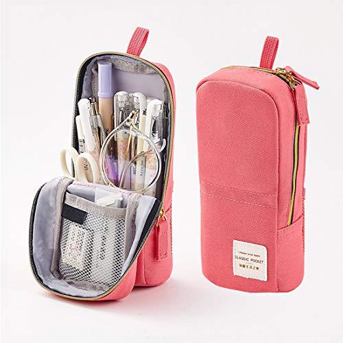 Oyachic Estuche Escolar Pequeña Pencil Case Bolsa para Lapices Pen Phone Stand Holder Estudiante Plumier Colegio Kawaii Box Pencil Case para Estudiante (Rosado)