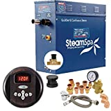 SteamSpa Premium 6 KW QuickStart Acu-Steam Bath Generator Package with Built-in Auto Drain in Oil Rubbed Bronze | Steam Generator Kit with Control Panel Auto Drain Steamhead 240V | PRR600OB-A