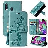 Miagon Portafoglio Flip Custodia per Samsung Galaxy A20S,Carina Farfalla Albero Gatto Design PU Pelle Libro Stile Magnetica In piedi Funzione Cover,Verde