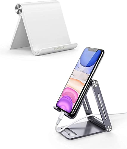 popular UGREEN Cell Phone Stand with Aluminum Phone Holder Bundle Compatible for iPhone new arrival 11 Pro Max SE XS XR 8 Plus 6 7 5, Samsung Galaxy S20 S10 S9 new arrival S8 S7 S6 Android Smartphone Holder Desk Adjustable Foldable outlet sale