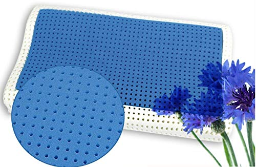 venixsoft Letto Fresco in Memory Foam Termosensibile Anatomico Cuscino Anti Cervicale 70 x 40 x 10/12 cm, Schiuma di Memoria, Bianco e Blu, Singolo Inserto