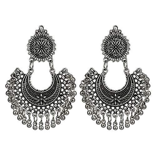 Arete Borla De Metal Indio Étnico Bollywood Pendientes Colgantes Joyería De Moda
