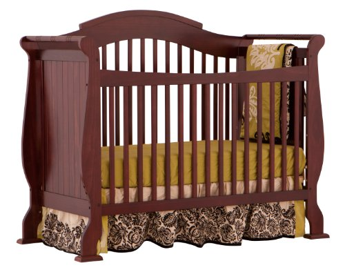 Stork Craft Valentia Fixed Side Convertible Crib, Cherry
