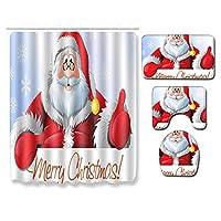 清潔なシャワーカーテンセット、8つのかわいい漫画サンタクロースパターン12フックバスマットトイレ蓋マットラグ Santa5-3pcs~50cm