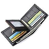 Photo de Portefeuille pour Homme Sailinna Portefeuille en Cuir avec Poche à Monnaie pour Carte d'identité avec Zipper Coin Pocket et SIM Slots Permis de Conduire Carte de crédit (A-Black(12 x 10 x 1.5cm))