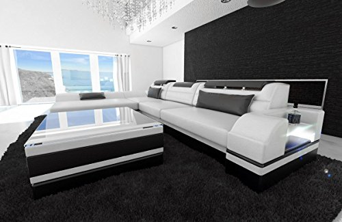 Sofa Dreams lederen bank Monza L-SHAPED wit-zwart