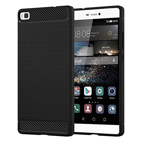 Cadorabo Hülle für Huawei P8 - Hülle in Brushed SCHWARZ – Handyhülle aus TPU Silikon in Edelstahl-Karbonfaser Optik - Silikonhülle Schutzhülle Ultra Slim Soft Back Cover Case Bumper