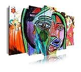DekoArte 497 - Cuadros Modernos Impresión de Imagen Artística Digitalizada | Lienzo Decorativo para Tu Salón o Dormitorio | Estilo Abstractos Arte Picasso Cara picassiana Rojo | 5 Piezas 150 x 80 cm