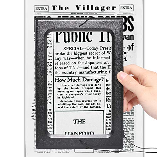 3X Large Hands-Free Magnifying Glass Full-Page Magnifier LED...