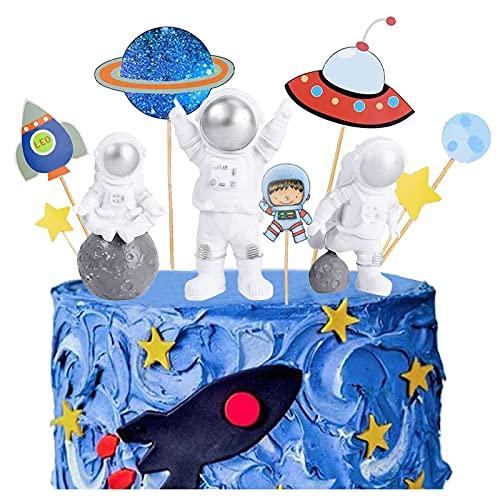 Astronauta Ornamenti Del Desktop Astronauta Torta Decorazioni Decorazioni per Torta per Feste Spazio Astronaut Cake Topper Spazio Esterno Astronave per Bambini Compleanno Shower Party (10 pezzi)