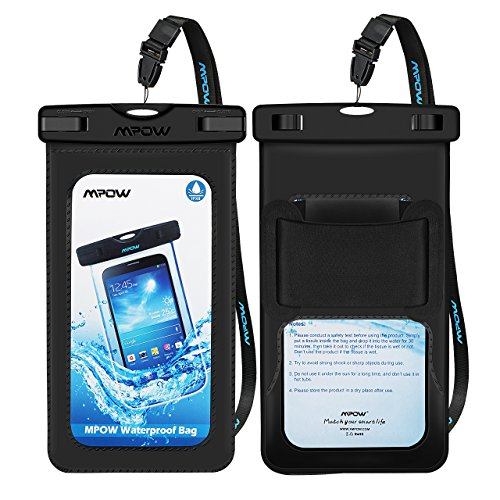 Mpow Upgraded Waterproof Case with Armband, IPX8 Universal Cell Phone Dry Bag Waterproof Pouch Bag for Iphone XS Max/XS/XR/X/8/8Plus/7, Galaxy, Note 9/8, HTC, Google Pixel (Black 2 Pack)