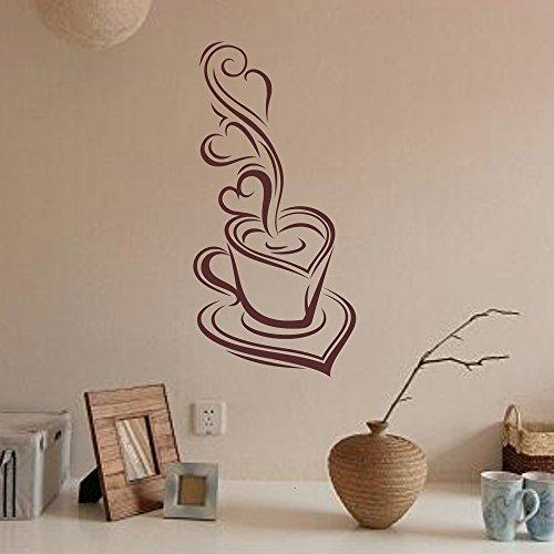 mlpnko Kaffeetasse Vinyl Wandaufkleber zitiert Küchenabziehbilder Restaurant Küche abnehmbare Wandaufkleber DIY Wohnkultur Wandkunst Wandbild PVC-Material-30x60cm