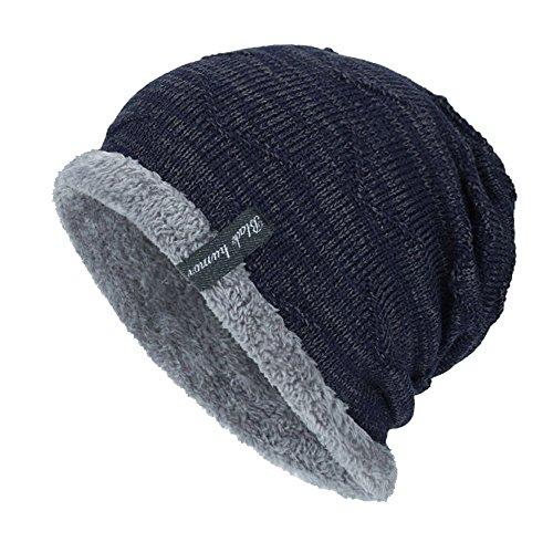 YWLINK Unisex StrickmüTze Absicherung Kopf Cap MüTze Warmer Mode Hut Mit Warmem Innenfutter Pfahlkappe(Freie Größe,Marine)