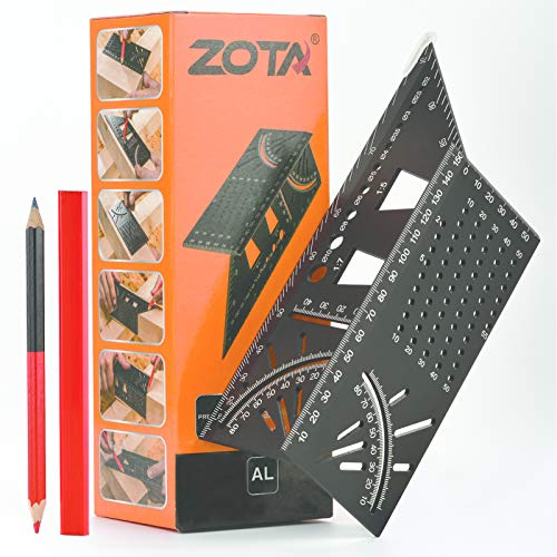ZOTA 3D Mitre Angle Measuring Tool,45/90 Degree Angle T Ruler,Aluminum Alloy Woodworking Square with Punctuation Marking Gauge & Hole Scribing