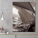 N / A Cuadro en Lienzo Impresiones Velero Mar Abstracto Sol Paisaje Cuadros de Pared Cuadros Art Deco Sin Marco 20X30cm