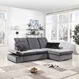Divano Roma Furniture Classic Large Brush Microfiber L-Shape Sectional Sofa Couch with Chaise Lounge and Adjustable Headrest (Grey/Grey)