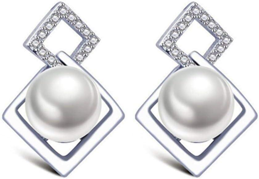 8mm/Piece Sterling Silver Earrings Stud Natural Freshwater Pearls Jewelry for Women Pearl Wedding Earrings Female