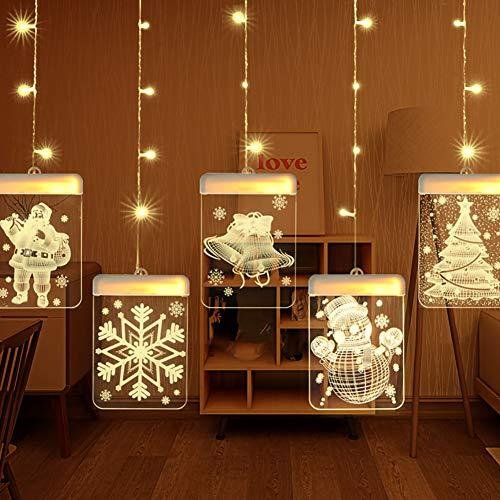 Harddo Kerstlichtsnoer, LED-lichtketting voor kerstboom, LED-verlichting, USB-voeding, sneeuwman, kerstman, sneeuw, rendier, belbelbel, warmwit