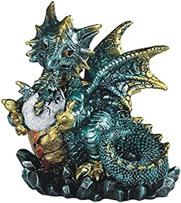 "Major-Q G8071799 4.5"" Turquoise Crystal Holding Egg and Baby Dragon Statue Figurine Home Decor Sculptures Polyresin"