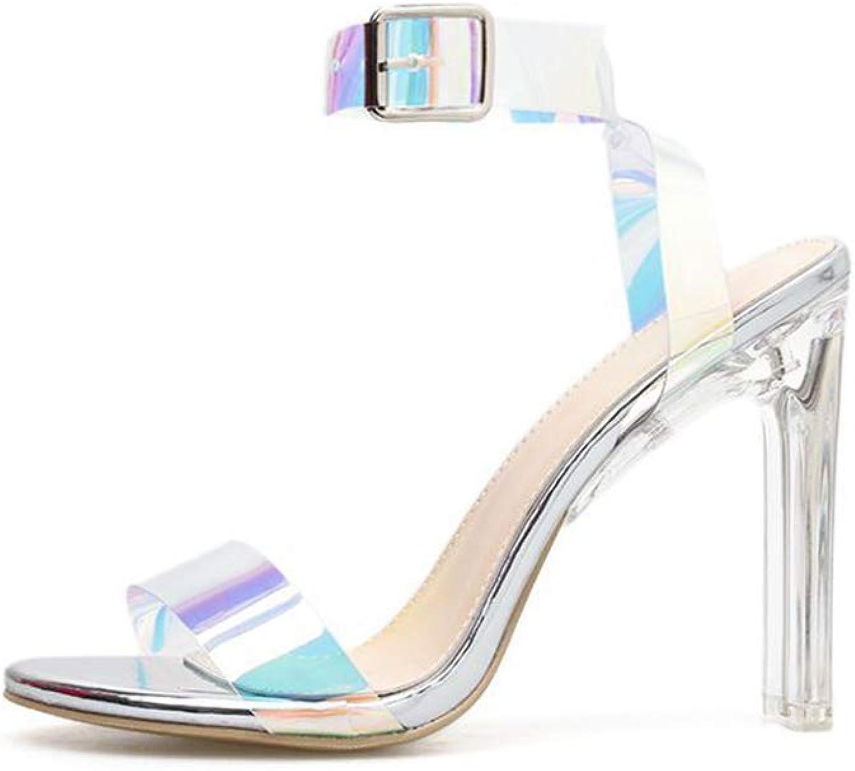 Women's High Heel Sandals New Summer Transparent Rough High Heels Buckle Novelty shoes Wedding Party Evening,B,39