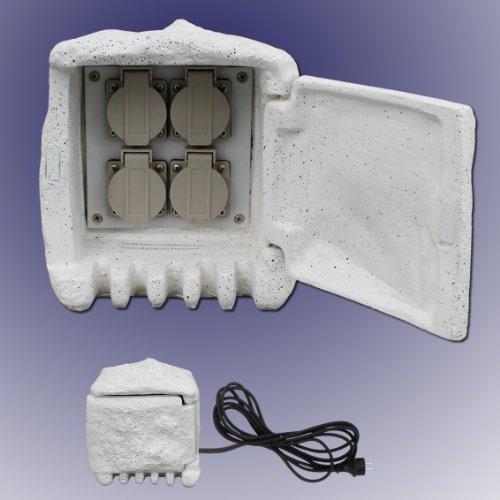 Trango TG-STD4 4-fach IP44 Steckdosenstein Stein Optik für Ihren Garten Steckdosen für Außen inkl.5m Zuleitung