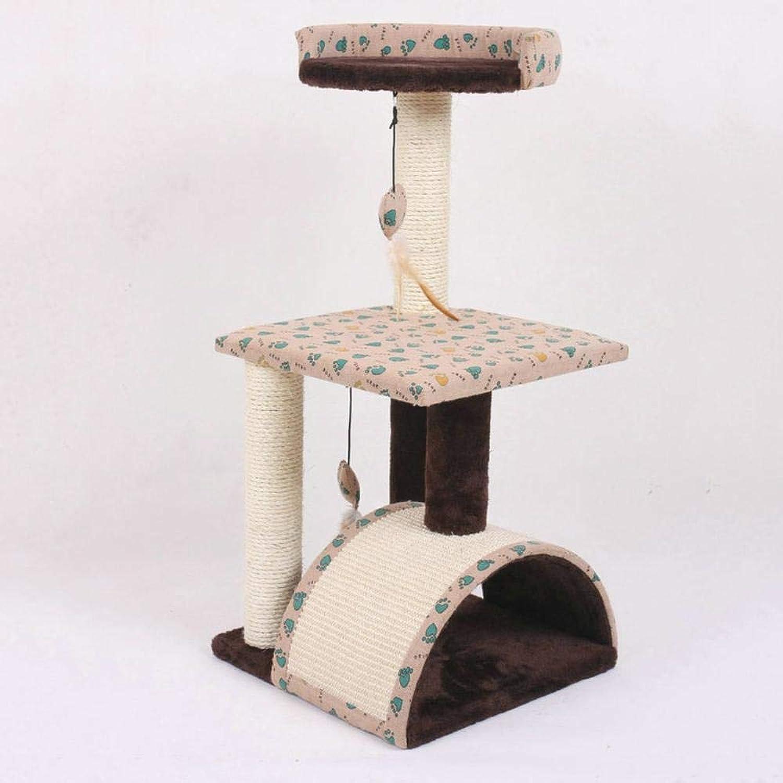 Hexiansheng Cat Climb Trees Small pet cat platform arched sisal carpet sisalClaw Wood 36x37x78cm