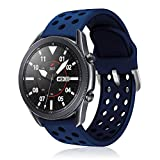 YPSNH Sport Bands for Samsung Galaxy Watch 3 45mm/Galaxy Watch 46mm/Gear S3/TicWatch Pro/Huawei Watch GT 46mm/Pebble Time Steel,Men Women(Blue)