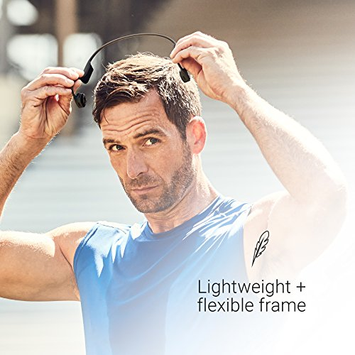 AfterShokz Air Open-Ear Wireless Bone Conduction Headphones with Brilliant Reflective Strips, Canyon Red, AS650CR-BR