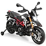 Costzon 12V Kids Motorcycle, Licensed Aprilia Electric Motorcycle Ride On Toy w/ Training Wheels, Spring Suspension, LED Lights, Sounds & Music, MP3, Battery Powered Dirt Bike for Boys & Girls, Black