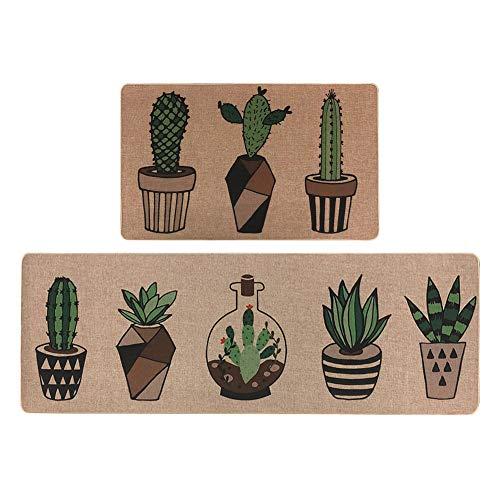 LISIBOOO 2 Piece Microfiber Kitchen Rugs Cushioned Chef Soft Non-Slip Rubber Back Floor Mats Washable Doormat Bathroom Runner Area Rug Carpet (17''x29''+17''x47'', Cactus)